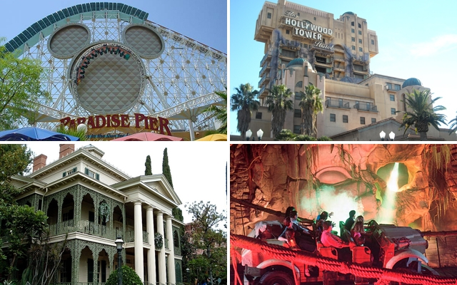 (Above clockwise: California Screamin', The Twilight Zone Tower Of Terror, Indiana Jones Adventure and Haunted Mansion)