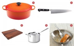 Above: 1. French oven from Le Creuset  2.  R2 Pro Chef's Knife from Takamura  3. Walnut Cutting Board from Boos Block  4. 4-quart saucepan from All Clad  5. Flexible Fish Spatula from William Sonoma
