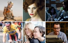 Above top row (L-R): Matt Damon in 'The Martian' / Eddie Redmayne in 'The Danish Girl' / Jacob Tremblay and Brie Larson in 'Room' / Above bottom row (L-R): Ben Foster in 'The Program' / Julianne Moore and Ellen Page in 'Freeheld' / Bryan Cranston in 'Trumbo'