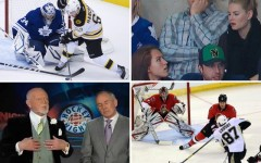 Above clockwise: Toronto Maple Leafs goalie James Reimer and Boston Bruins forward Brad Marchand in Toronto / April Reimer and Elisha Cuthbert / Don Cherry and Ron MacLean during Hockey Night in Canada / The Penguins' Sidney Crosby takes a shot at the Ottawa net