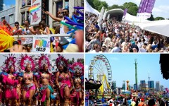 Above (clockwise): Toronto Pride, Taste Of Toronto, the Canadian National Exhibition and the Scotiabank Caribbean Carnival