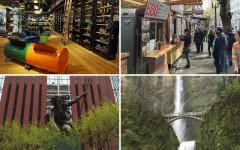 Above (clockwise): The Keen Garage, Food cart block, Columbia River Gorge, and the Portlandia sculpture