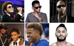 "Above (clockwise): Bruno Mars, Fabolous, Bun B, Francisco ""Cisco"" Rivera, Marcus Stroman and Justin ""Prince"" Combs"