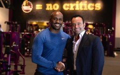 Above: 'Biggest Loser' trainer Dolvett Quince with Planet Fitness CEO Chris Rondeau at Canada's first Planet Fitness location (Photo credit: Teddy Chau)