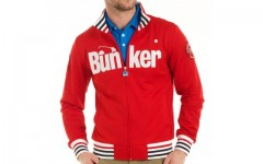 Above: Bunker Mentality's golf zipper jacket in red