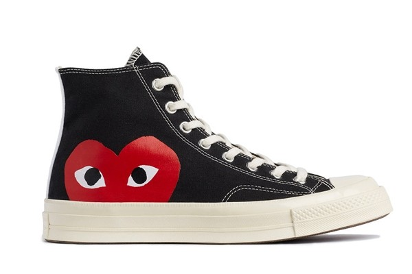 "Above: The latest Converse x Comme des Garçons collaboration with ""peeking"" heart logos"
