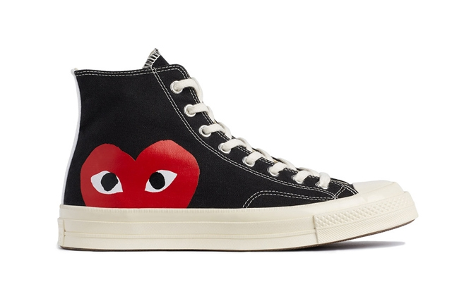 """Above: The latest Converse x Comme des Garçons collaboration with """"peeking"""" heart logos"""