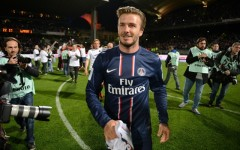 David Beckham is seen celebrating after PSG's win on Sunday. (Philippe Desmazes/AFP/Getty Images)