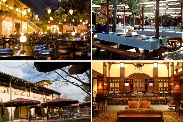 Above (clockwise): The Blue Bayou, The Big Thunder Ranch Restaurant, Napa Rose and The Wine Country Trattoria