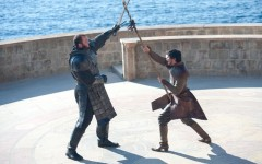 Above: The Mountain (Hafthor Bjornsson) and The Viper (Pedro Pascal) fight to the death (Photo: HBO)