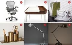 Above: 1) Aeron Chair PostureFit by Herman Miller, (Design Within Reach $899) / 2) Airia Desk by Herman Miller (Herman Miller Shop, $2199) / 3) Lucite Desk Accessories (CB2 $10-$35) / 4) Bronze Desk Organizer ( Anthropologie $48) / 5) Tolemo Classic LED Table Lamp by Artemide (Y Lighting $635 ) / 6) Atelier Task Table Lamp (Restoration Hardware, $349)