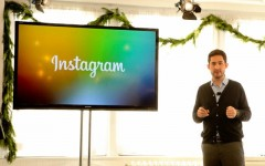 Above: Instagram founder Kevin Systrom at an event in New York today