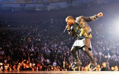 Above: Kanye West on stage during the Watch The Throne Tour