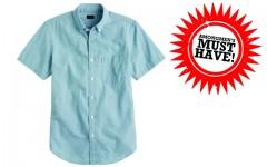 Above: J. Crew's short-sleeve shirt in Japanese indigo