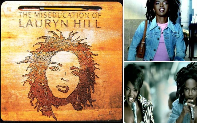 """Above clockwise: 'The Miseducation Of Lauryn Hill' album cover, the """"Everything Is Everything"""" music video and the """"Doo Wop (That Thing)"""" music video"""