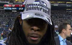 Above: A screencap from Seahawks star Richard Sherman's crazy postgame interview with Erin Andrews