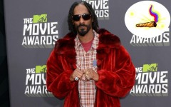 Above: Snoop Lion at the 2013 MTV Movie Awards / Insert: The Snoopify app's $99.99 'Golden Jay' virtual sticker