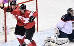 Above: Team Canada beats USA 1-0 to advance to men's hockey gold medal game