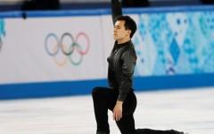 Above: Patrick Chan took the silver medal in men's figure skating behind his Japanese rival, 19-year-old phenom Yuzuru Hanyu