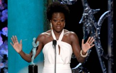 Above: Viola Davis accepting her SAG award for Outstanding Performance by a Female Actor in a Drama Series