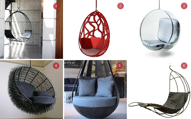 Above: 1) Swing Chair a Deux by Erin Martin  2) Objets Nomades from Louis Vuitton  3) Bubble Chair by Eero Aarnio  4) Sea Urchin from OOMS  5) Round Metal Swing by Artemano  6) Hanging Leaf Chair by Rupert Oliver