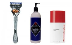 Above: Gillette's Fusion ProGlide Power Razor with Flexball Technology, Jack Black's Beard Lube Conditioning Shave and Dermalogica's Post Shave Balm