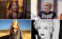 Above (clockwise): Video screencaps from Madonna's Like A Prayer, Papa Don't Preach, Vogue and Don't Tell Me music videos