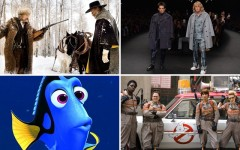 Above (clockwise): The Hateful Eight, Zoolander 2, Ghostbusters and Finding Dory all make the list of movies we're excited to see