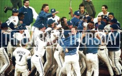 Above: Toronto Blue Jays after winning in the bottom of the 9th in Game 6 of World Series on October 23, 1993
