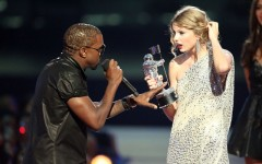 Above: Kanye West takes the microphone from Taylor Swift onstage during the 2009 MTV Video Music Awards in New York City