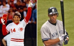 Above: Pete Rose and Alex Rodriguez
