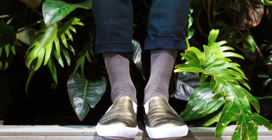 Wearing: Pantherella fine English socks from Socking Behaviour (shown with gold slip ons from Generic Surplus)