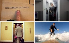 Above: Casey Neistat surfs and snowboards in J. Crew's Ludlow Traveler suit