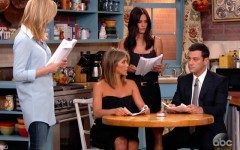 Above: Lisa Kudrow, Jennifer Aniston and Courteney Cox joined Jimmy Kimmel for an impromptu 'Friends' reunion