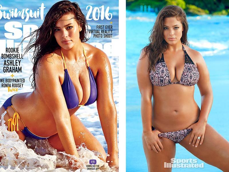 Above: The Size 16 model looks beautiful on one of three covers of Sports Illustrated Swimsuit Issue