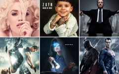 Above (top L-R): Gwen Stefani's 'This is What the Truth Feels Like' and Zayn Malik's 'Mind of Mine' are released this month and Kevin Spacey is back as Frank Underwood in 'House of Cards' Above (bottom L-R): The latest in the Divergent series, 'Allegiant' and Jeff Nichols' 'Midnight Special' hit theatres on March 18th, while 'Batman V. Superman: Dawn of Justice' hits theatres on March 25th