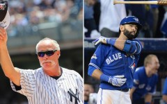 """Above (L-R): Former Major League Baseball right-handed relief pitcher Rich """"Goose"""" Gossage and Toronto Blue Jays right fielder Jose Bautista"""