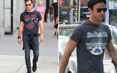 Above: Justin Theroux, king of how to properly wear a concert t-shirt, shows a little love to Poor Righteous Teachers and Blue Oyster Cult