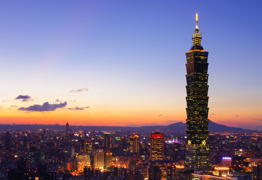 Above: The skyline of Taipei, the vibrant capital of Taiwan,
