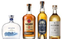 Above (L-R): Grey Goose VX, Bacardi Gran Reserva Ocho, Royal Brackla 12 and Aultmore 12