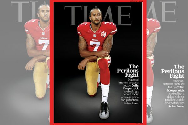 Above: NFL quarterback Colin Kaepernick is protesting police killings by kneeling during the national anthem