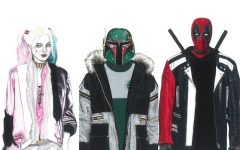 Above: Harley Quinn, Boba Fett, and Deadpool wearing runway pieces