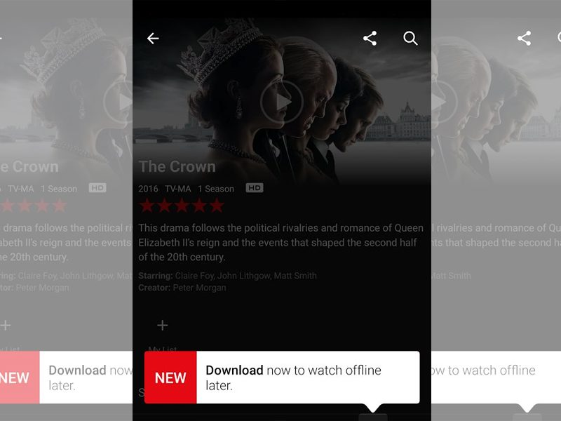 Above: Netflix will now let you download videos and watch them offline