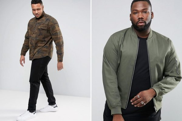 Above: British online retailer ASOS is now offering hundreds of men's items in 'Plus' and 'Tall'