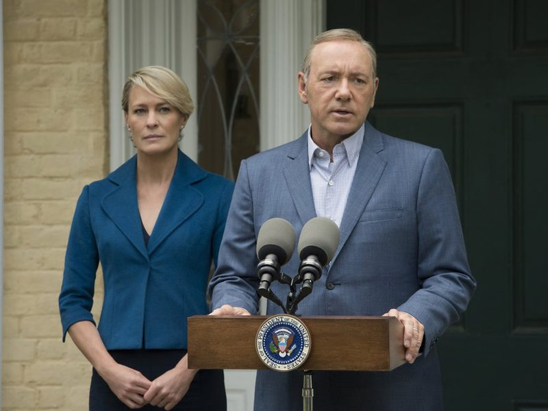 Above: Netflix's 'House of Cards' couldn't let Donald Trump's Inauguration grab all of the headlines