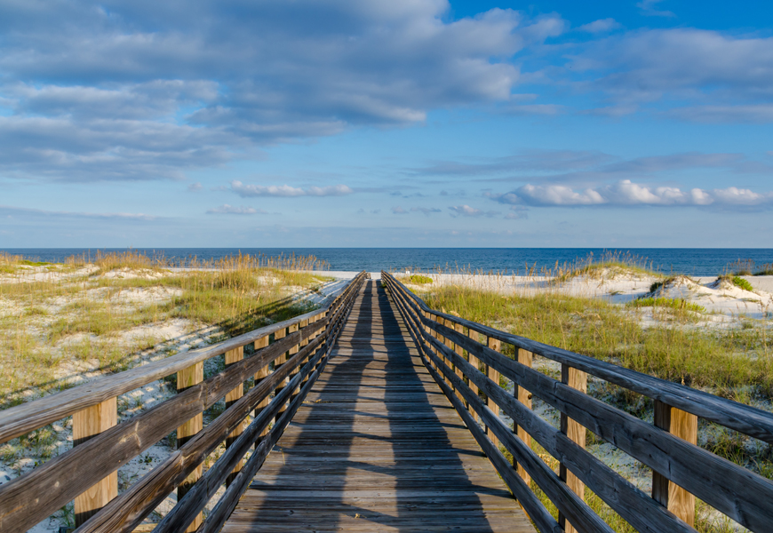 Above: A wooden walkway to the Gulf of Mexico on the Alabama Gulf Coast
