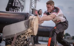 Above: 2-time Canadian Champion and B.C. native Stirling Hart competes in the single buck discipline during the STIHL TIMBERSPORTS Champions Trophy at the Hamburg Cruise Center Altona in Hamburg, Germany on May 20, 2017
