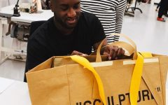 Above: Virgil Abloh shows off the new Frakta bag