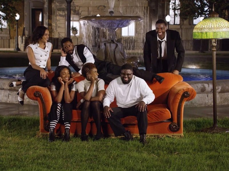 Above: The music video satirizes the classic sitcom, 'Friends'