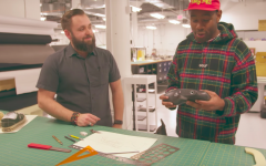 Above: Tyler, the Creator inspects a mold at Converse's Boston HQ